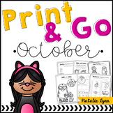 October No Prep Math and Literacy Worksheets for Kindergarten
