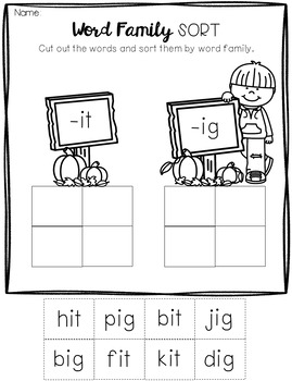 October No Prep Math and Literacy Worksheets for Kindergarten