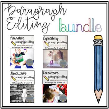 Print & Go Paragraph Editing BUNDLE Narrative Expository Descriptive Persuasive