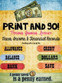 Print & Go! Personal Financial Literacy for 5th grade