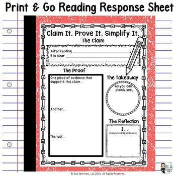 Print & Go Reading Response Sheet