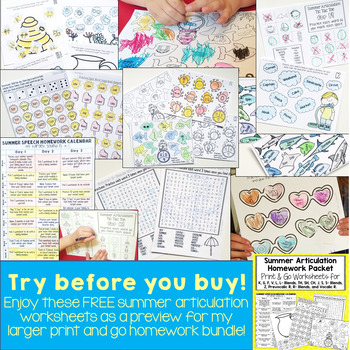 Print & Go Summer Articulation Homework Worksheets - Bundle Preview FREEBIE!!