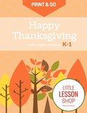 Print & Go Thanksgiving Activity Worksheets for Kindergart