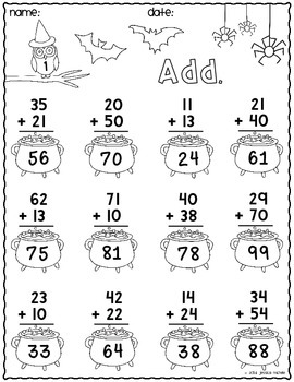 Print & Go Two-Digit Addition Printables {Halloween}