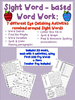 Print & Go Word Work for First 200 Fry Sight Words