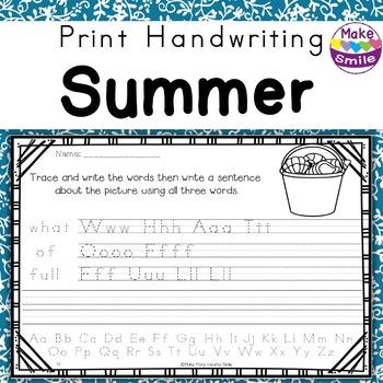 Print Handwriting Worksheets: Summer Practice