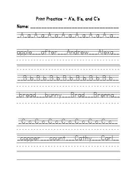 Print Handwriting Practice Full Alphabet