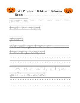 Print Handwriting Practice Holidays