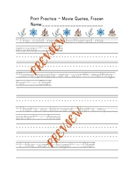 Print Handwriting Practice Packet