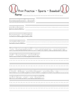 Print Handwriting Practice Sports