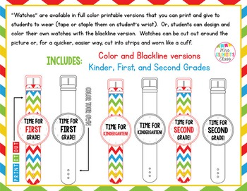 Print It Out OR Color Your Own BUNDLE: Crowns & Watches!  First Day - K-2