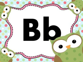 Print Letter Posters - Owl Theme
