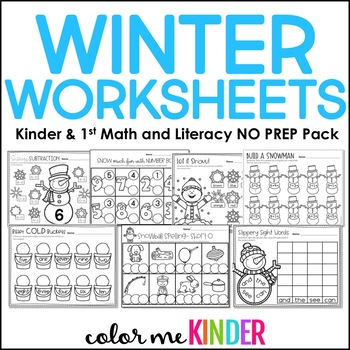 25 Winter NO PREP Math and ELA Printables