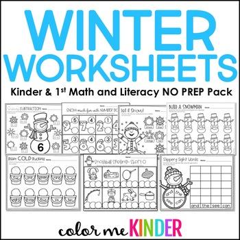 25 Winter NO PREP Math and ELA Printables