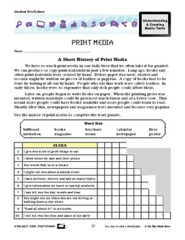 Print Media Lesson Plan Grades 4-6 - Aligned to Common Core