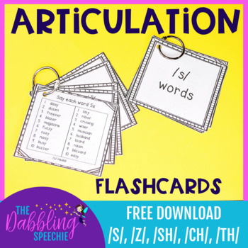 Articulation Flashcards For /s/, /sh/, /ch/, and /th/ FREE download