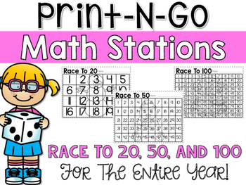 Print-N-Go Math Stations {Race To 20, 50, and 100}