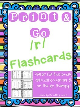 Print N' Go /R/ Flashcards- Distance Learning