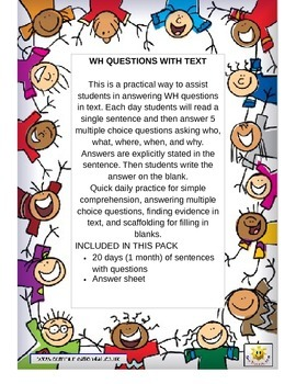 Print N Go:Single Sentence WH Comprehension Questions