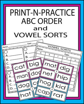 Print-N-Practice ABC Order and Vowel Sorts