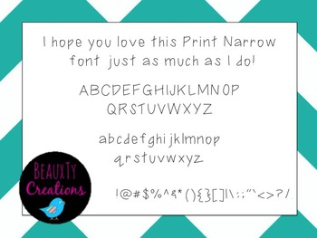 """Print Narrow"" Font by BeauxTy Creations"