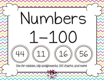 Print Numbers to 100 Colorful Chevron