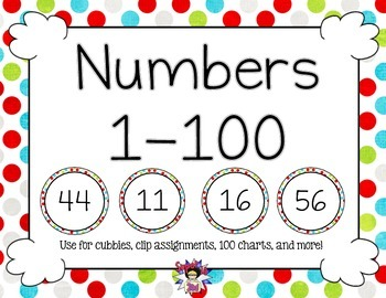 Print Numbers to 100 Multi Colored Dots