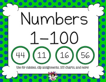 Print Numbers to 100 Navy Lime Dots