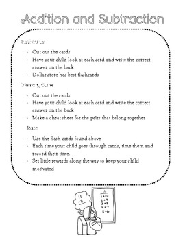 Print Outs for Parents - Math Supplemental Pack