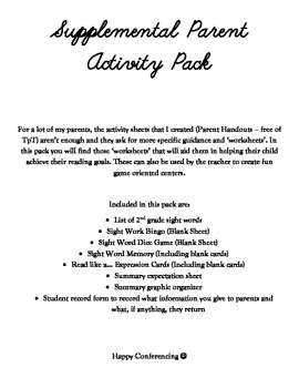 Print Outs for Parents - Reading Supplemental Pack