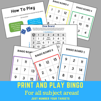 FREE Print & Play Bingo - FOR ALL SUBJECT AREAS!