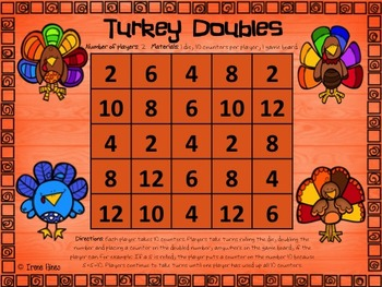 No Prep Print & Play Packs ~ Turkey Themed Math Games For Thanksgiving ~
