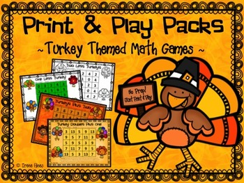 No Prep Print & Play Packs ~ Turkey Themed Math Games For