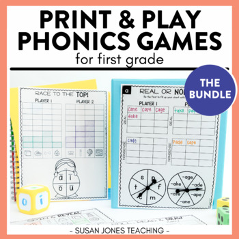 Phonics Games for 1st Grade: Print, Play, LEARN!