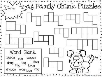 Spelling Print & Practice -ag chunk mini pack