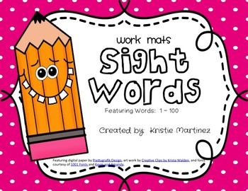 Sight Words 1 - 100 {Printable Work Mats}
