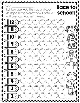 Print, Roll and Play Dice Activities (Back to School Edition)