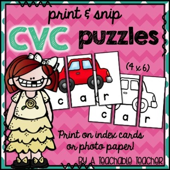 Print & Snip CVC Puzzles {Print on 4x6 Index Cards or Photo Paper}