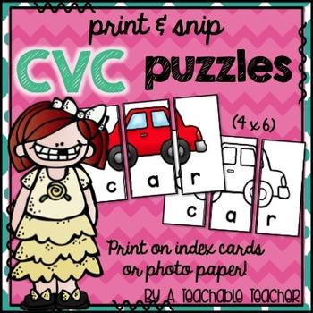 Print & Snip CVC Puzzles {Print on 4x6 Index Cards or Phot