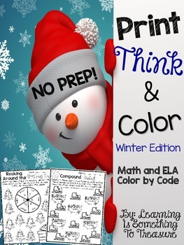 Print Think and Color: NO PREP Winter Math and Literacy Pack