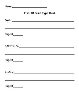 Print Type (Features) Hunt