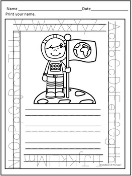 "Astronauts ""Print Your Name"" (Worksheets)"