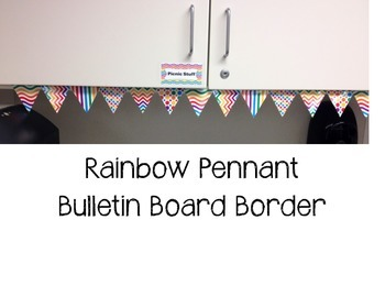 Print Your Own Bulletin Board Border Trimmer - Rainbow Pennant