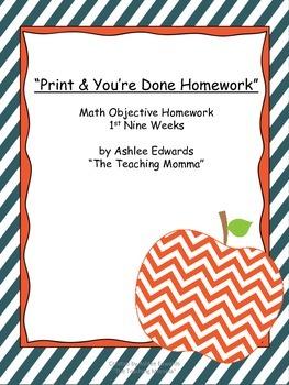 Print & You're Done Math Homework (First Nine Weeks)