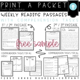 1st-3rd Reading Comprehension Passages with Comprehension Distance Learning
