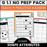 Print a Standard G 1.1 {Attributes of 2D & 3D Shapes} Activities + Assessments