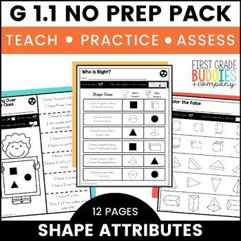 Shape Attributes | G 1.1 | No Prep Tasks | Assessment | Worksheets