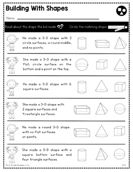 2D and 3D Shapes | G 1.2 | No Prep Tasks | Assessment | Worksheets