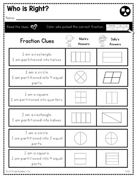 Print a Standard 1.G.3 {Partitioning Shapes into 2 & 4 Equal Parts} No Prep Pack