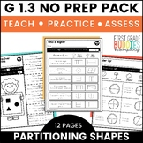 Print a Standard G 1.3 {Partitioning Shapes} No Prep Activities + Assessments